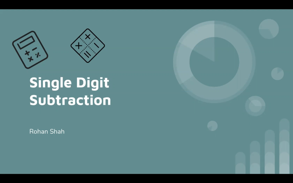 PS Tutoring Single Digit Subtraction with Rohan Shah